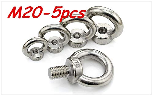 Nuts Metric M20 304 Stainless Steel Lifting Eye Nut Ring Shape Nuts 5Pcs/Lot