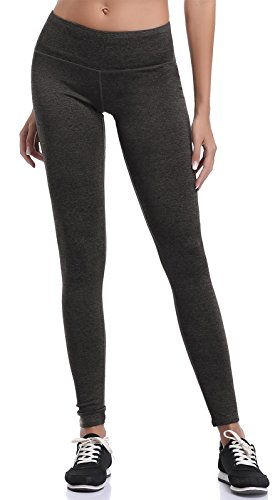 Aenlley Womens Athletic Yoga Pants with Hidden Pocket Workout Gym Spandex Tights Leggings Color Black Grey Size XS (Rollover Pants Lounge)