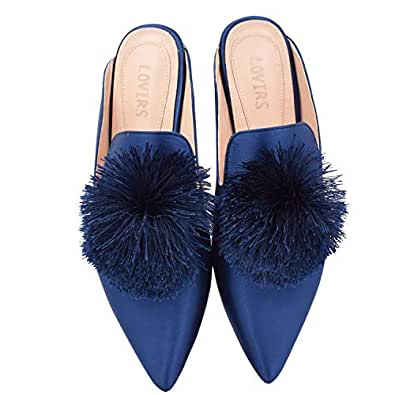 LOVIRS Women's Backless Comfort Slip On Loafers Flats Cute Pom Pom Mule Slippers Casual Shoes Blue Size: 6