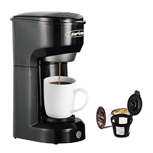 Single Serve Coffee Maker, Stamo Single-Serve Brewers with Permanent Filter, 6-14OZ Coffee Brewer, One-Touch Control Button Coffee Machine, Quick Brew Technology, Auto Shut Off, Black