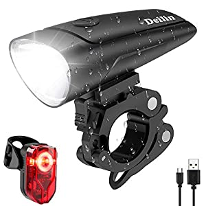 Deilin Fahrradlicht Set, bis zu 70 Lux LED Fahrradbeleuchtung USB Aufladbar Fahrradlampe, IPX5 Wasserdicht…