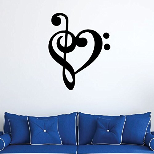 - Music Symbol Heart Love Wall Decal - Treble And Bass Clef - Vinyl Musician Gifts for Bedroom, Playroom or Studio Room Decoration