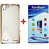 Yunikase MEEK5A3 Transparent Soft Silicon Flexible Electroplated Edges TPU Back Case Cover & Premium Tempered Glass screen pretector For Lenovo VIBE K5 / K5 PLUS (Gold)
