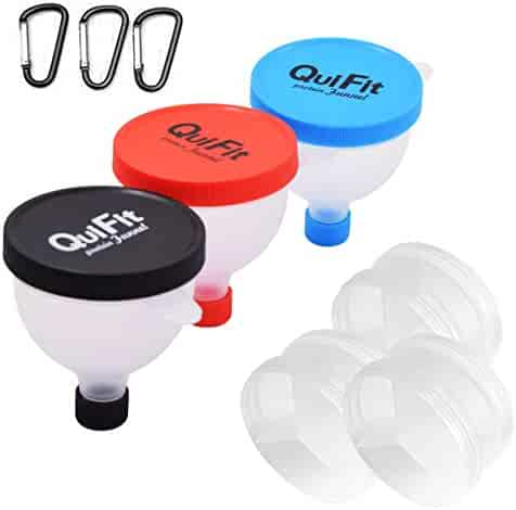 Protein Powder Funnel 2 in 1 Fill N Go Fitness Funnel Portable Supplement Pillbox Funnel Protein Storage BPA Free (3 Packs)