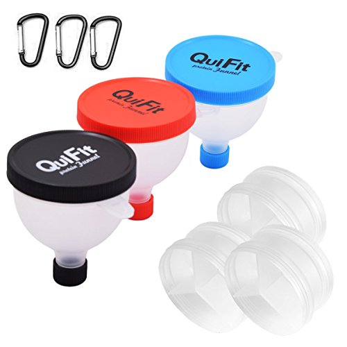QuiFit Protein Powder Funnel 2 in 1 Fill N Go Funnel Portable Supplement Pillbox Funnel Protein Storage BPA Free (3 - Powder Container