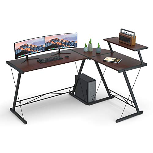 Round Walnut Activity Table - L Shaped Desk Home Office Desk with Round Corner.Coleshome Computer Desk with Large Monitor Stand,PC Table Workstation, African Walnut