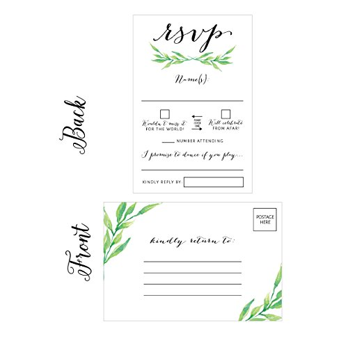 - 50 Floral RSVP Cards, RSVP Postcards No Envelopes Needed, Response Card, Blank RSVP Reply, RSVP for Wedding, Rehearsal Dinner, Baby Shower, Bridal, Birthday, Engagement, Bachelorette Party Invitations