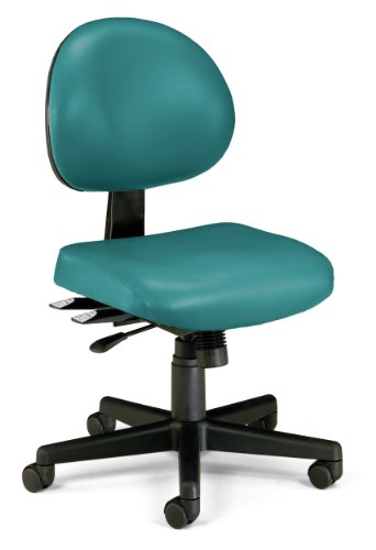 (OFM 24-Hour Vinyl Multi-Adjustable Armless Task Chair, Teal )