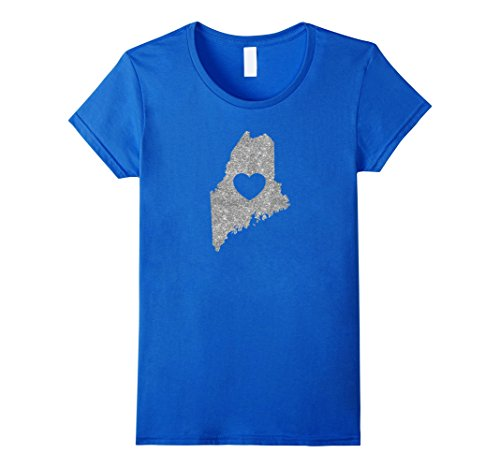 Womens The Official Maine  Love Heart  T Shirt  Silver Glitter  Medium Royal Blue