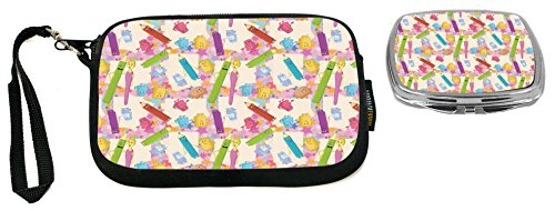 Family Stationery - Rikki Knight Stationery Family Pink Background Design Neoprene Clutch Wristlet with Matching Square Compact Mirror