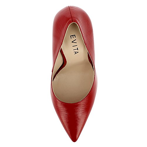 Evita Shoes Lisa Damen Pumps Lack mit Prägung Rot