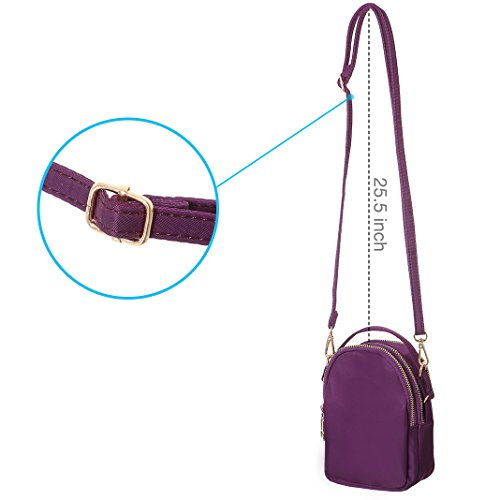 Purple Phone Purse Crossbody Smartphone Women Cell Nylon Carry Handy Wallet For With Bags MINICAT Small pqUX6wEY