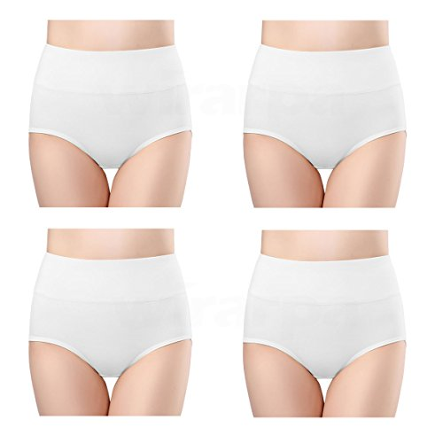 wirarpa Womens Cotton Underwear White 4 Pack High Waist Briefs No Muffin Top Ladies Stretch Panties Underpants Size 8, X-Large