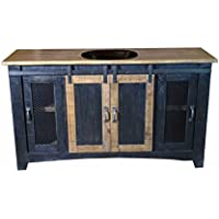 60 Inch Distressed Black Farmhouse Sliding Barn Door Single Sink Bathroom Vanity Fully Assembled With Copper Drop In Sink Installed