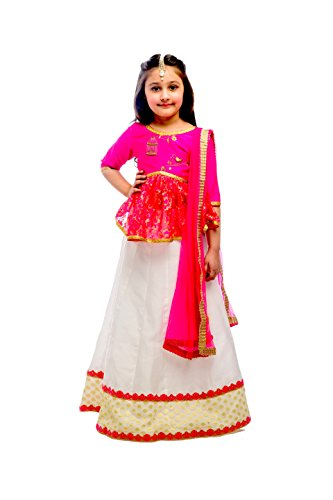 K&U Girls' Pink White and Gold Raw Silk & Lace Embroidery Work Lehenga Choli 3-4 Years