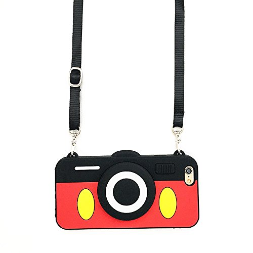 Mickey Mouse Camera Case with Length Adjustable Strap for iPhone 7 8 iPhone7 iPhone8 Regular Soft Silicone Red Black Color 3D Disney Cartoon Protective Lovely Kids Teens Girls Women Boys