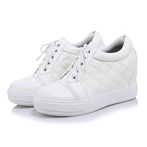 Bandage Leather Platform Heighten Inside White 1TO9 Girls Imitated Boots Ynq5WAHF