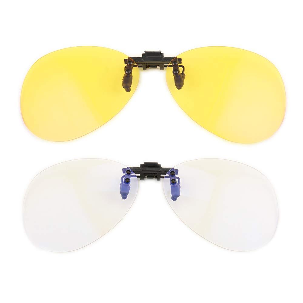 Gudzws Anti Blue Light Blocking Clip on Attached to Myopia Glasses Aviator frame