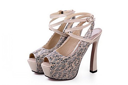 VogueZone009 Womens Open Peep Toe High Heel Platform Blend Materials Embossed Leather Assorted Colors Sandals, Apricot, 2 UK