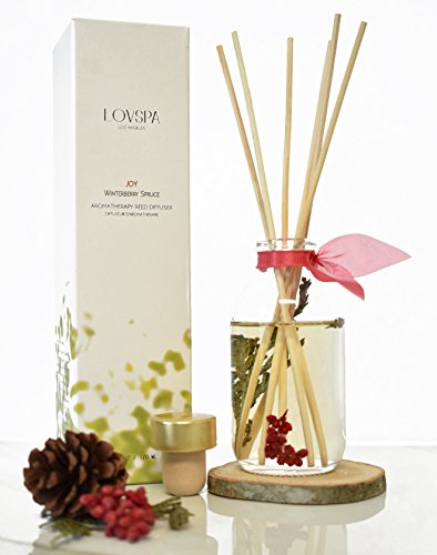 Wood Spice Stick - LOVSPA Joy Winterberry Spruce Luxury Reed Diffuser Oil Set | Wood Coaster Included | Cedar, Balsam, Berries and Spice Scented Oil | Rustic Winter Home Decor ~ Liquid Potpourri