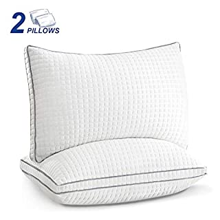JOLLYVOGUE 2 Pack Bed Pillows for Sleeping-Down Alternative Sleeping Bed Pillow with Plush Fiber Fill, Adjustable Hotel Pillow for Back, Stomach, Side Sleepers-Queen Size