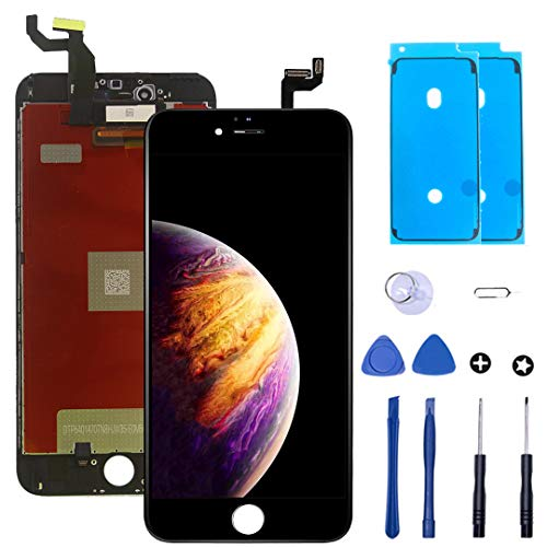 EDYELL Screen Replacement for iPhone 6s Plus Display Touch LCD Digitize Assembly with Front Camera Plastic Holder Earpiece Anti-Dust Mesh and Repair Tool Kit Black(5.5 inches)