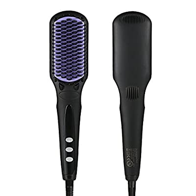 Hair Brush Straightener, Euph Professional Anion Ceramic Instant Detangling Brush, Built-in Double Anion Launching Rapid Heating Technology Anti Scald Nano Brush