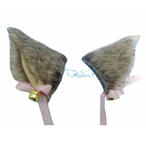 Angelaicos Unisex Handmade Long Hair Faux Fur Real Like Bowknot Bells Cat Ears Hairclips (Grass Gray)