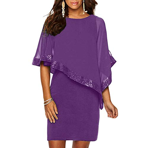 (Alaster Queen Sequined Overlay Party Dress Chiffon Poncho Slit Sleeve Pencil Cocktail Mini Dress (Purple,Large) )
