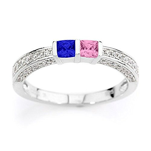NANA Princess w/CZs on 3 sides Couples 2 stones Ring w/His & Hers Simulated Birthstones - 10k White Gold - Size 4 by NaNa