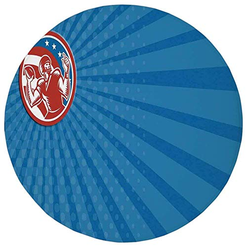 K0k2t0 Round Rug Mat Carpet,Sports,Pop Art Gridiron Illustration with Old Fashioned Visual Properties Throwing Man Print,Blue Red,Flannel Microfiber Non-Slip Soft Absorbent,for Kitchen Floor Bathroom