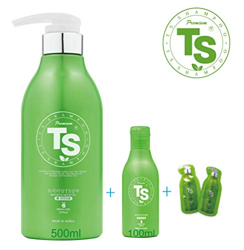 Premium TS Hair Loss Prevention Shampoo 500ml(16.9oz) + 100ml(4.23oz), Made in Korea by TS Shampoo (Plus 2 Travel Pouches)