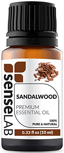 Sandalwood Essential Oil by SenseLAB  100% Pure, Natural, Organic and Highly Concentrated; Therapeutic Grade Oil 0.33 fl oz (10ml)