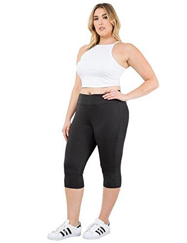 YOGARURU Women's Plus Size Active Yoga Running Sports Capris Legging (1X 4X)