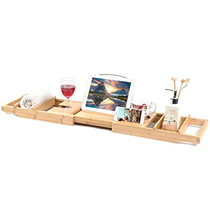 Amazon.com: Greensen Bamboo Bathtub Trays for Reading, Adjustable ...
