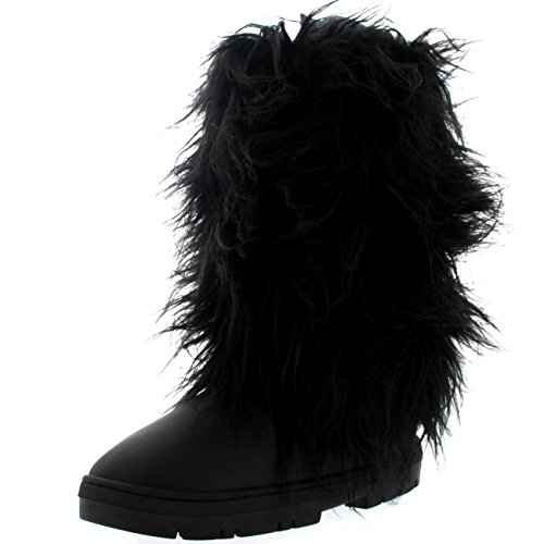 Holly Womens Long Covered Rain Winter Warm Tall Snow Boots Zwart Leer