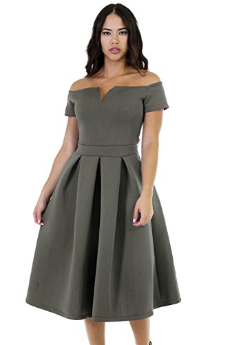 Gray Cocktail (Lalagen Women's Vintage 1950s Party Cocktail Wedding Swing Midi Dress Gray XXL)