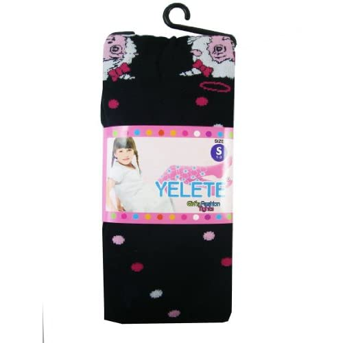 Yelete Girls Fashion Tights Leggings - Girls Leggings Black w/ Angels - (Size Small - Ages 1-3 Years)