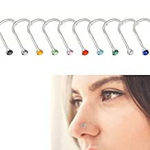 20 PCS Small Nose Ring - YSLF Stainless Steel Rhinestone Nose Stud Rings Body Piercing Jewelry