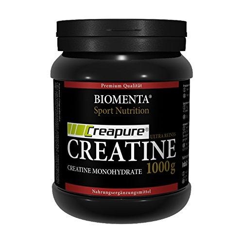 Biomenta® 1000g reines CREATIN Monohydrat Pulver | Hochwertiges geschmacksneutrales Creapure® Creatine / Kreatin | Optimiert mit Vitamin B6 (Pyridoxin), B9 (Folsäure) und B12 (Methylcobalamin) | Hergestellt in Deutschland | Unterstützt beim Kraftsport & Bodybuilding