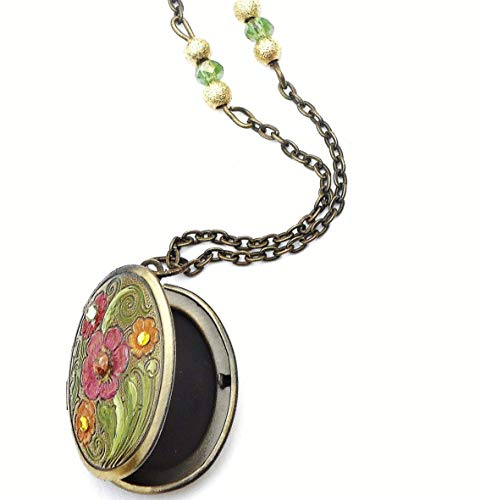 - Painted Flower Oval Locket Necklace with Swarovski Crystal Rhinestones Victorian Art Nouveau Jewelry for Women