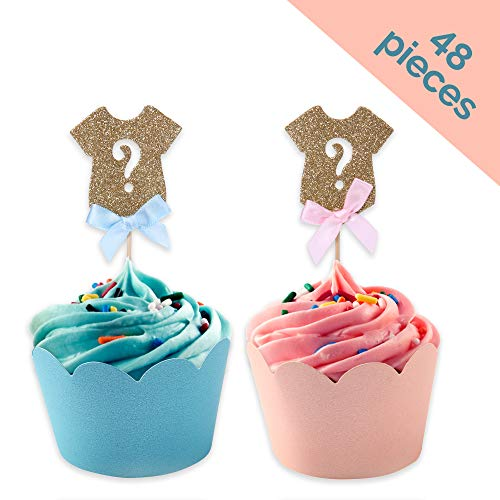 (Gender Reveal Cupcake Toppers Set: 24 Onesie Cupcake Toppers and 12 Light Blue & 12 Light Pink Cupcake Wrappers with Scalloped Edge)