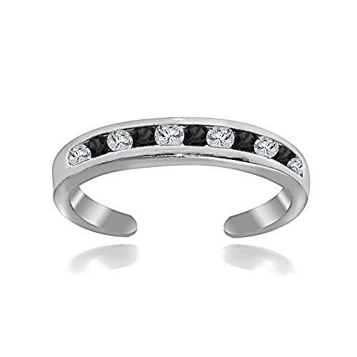 Hoops & Loops Sterling Silver Channel-Set Black & White Cubic Zirconia Toe Ring ()