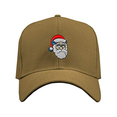 Speedy Pros Baseball Hat Santa Claus Embroidery Christmas Wishes Acrylic Structured Cap Hook & Loop - Khaki, Design -