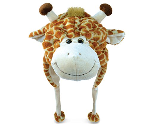Puzzled Giraffe Super-Soft Stuffed Plush Hat Cuddly Animal Toy ()