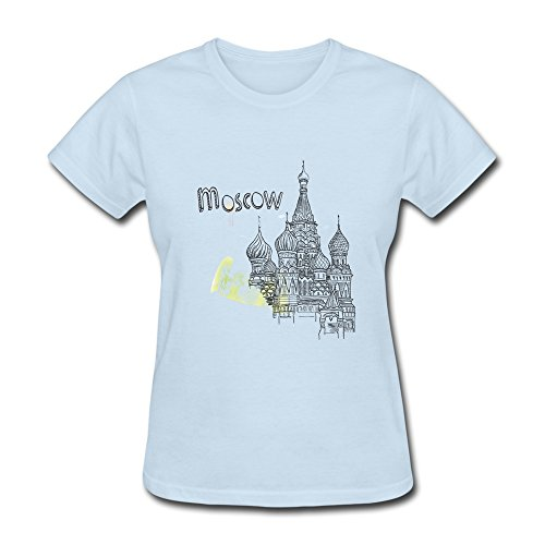 Price comparison product image WSB Women's T Shirts Geek Moscow Castle Design Design T Shirts SkyBlue Size S