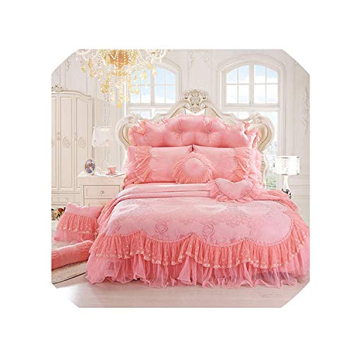- Luxury 100% Cotton Cream Red Pink Purple Lace Bedding Set Duvet Cover Bed Skirt Pillows Case 4/6/8Pcs/King/Queen Double Size,3,Queen Size B 4Pcs