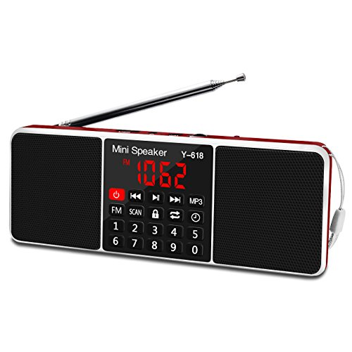 Lefon Multifunction Digital FM Radio Media Speaker MP3 Music Player Support TF Card USB Drive with LED Screen Display and Setting Timing Shutdown Function (Red)