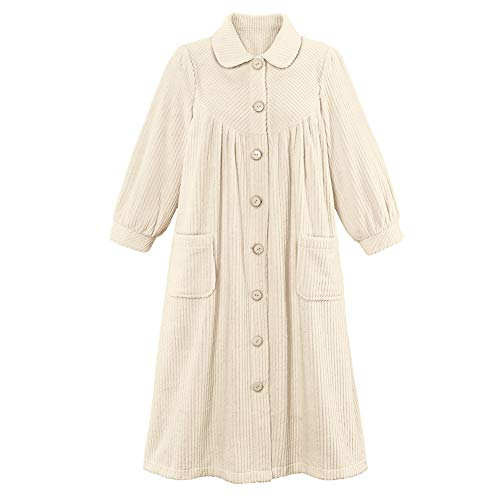 (Women's Plush Fleece Button Front Robe with Pockets, Collar, Ivory,)