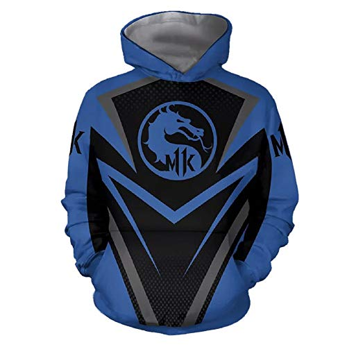 UPSTONE Mortal Kombat 11 Hoodie Long Sleeve Fleece AIR-Zero-Mortal-Kombat- Mens Sweatshirt (S, Blue) -
